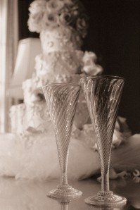 Champagne Glasses and Wedding Cake